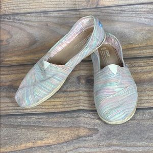 TOMS striped multicolor espadrille slip ons